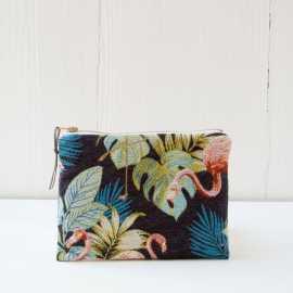 Reißverschlusstasche -  Flamingomuster