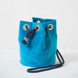 small velvet bucket bag