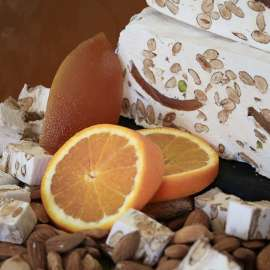 Soft nougat, candied orange peel