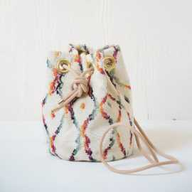 small velvet bucket bag - Berber Pattern