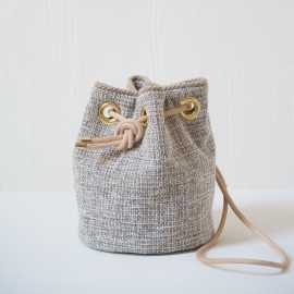 small velvet bucket bag - Tweed Cream color
