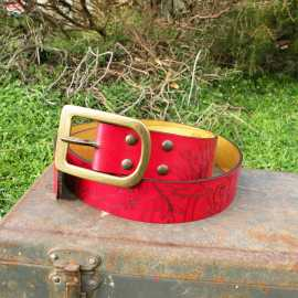 Women's leather belt Cabinet de curiosité - Pepper red Color