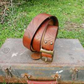 'MIAMI' : Men's engraved leather belt