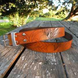 'MIAMI' : Men's engraved leather belt
