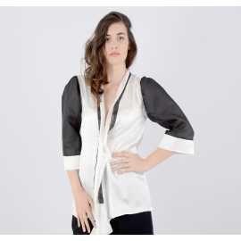 Cardigan en soie noir et blanc - 36 / 42 taille FR
