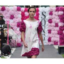 Robe blanc et rose soie et coton - 36 / 40