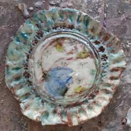 Teller mit geriffelten Kanten - Blau Dekor