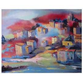 Bunter Nebel über Bonnieux, Dorf im Luberon in der Provence!