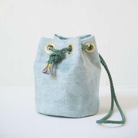 small velvet bucket bag