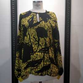 Black and yellow silk blouse
