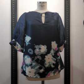 Bluse Seide und koreanischer Stoff mit Blumendruck